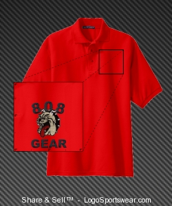 808 GEAR POLO (EMBROIDERED) RED Design Zoom